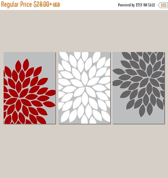 Red gray white wall art bedroom kitchen wall art by trmdesign for Red kitchen wall art