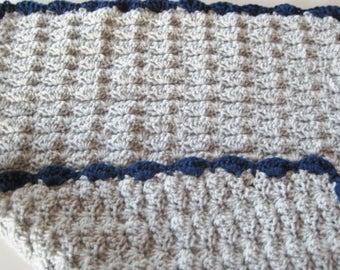 Crochet Newborn Baby Boy Blanket - Baby Travel Blanket, Stroller or Baby Carrier Blanket Set - Light Grey & Navy Blue -  Crib Size Available