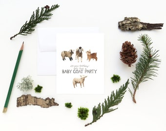 Baby Goats Birthday Card / Birthday Card / Greeting Card / Baby Goats Card / Goat Card / Farm Birthday Card / Baby Goats / Funny Card