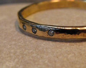 3 diamond 14k gold ring. Rustic, Hammered, 14k yellow gold