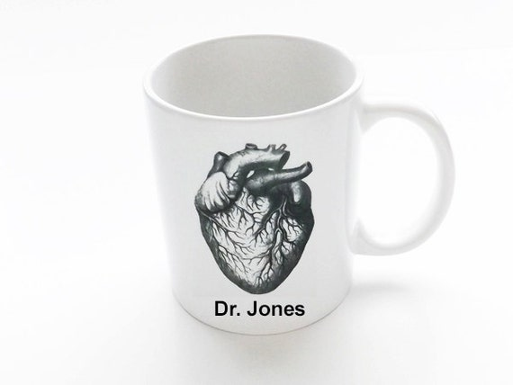 Custom Heart MUG Gift for Doctor Nurse personalized stocking stuffer graduation party favor medical professional office coffee anatomy goth
