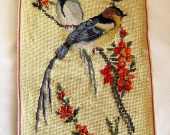 Vintage Needlepoint Pair of Birds on a Floral Branch