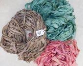 Silk Sari Ribbon, Sari silk ribbon, recycled ribbon, weaving supply, knitting supply, rug making supply, PLEASE READ GRADE B