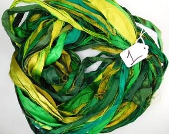 Sari silk Ribbon, Recycled Silk Sari Ribbon, Green sari ribbon, green ribbon, weaving supply, jewelry supply