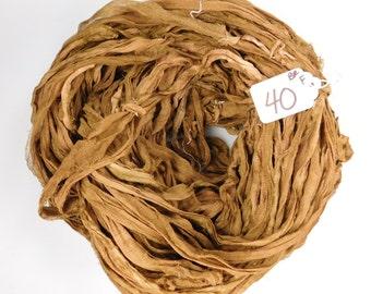 CHIFFON sari ribbon, Recycled Silk Sari Ribbon, sari silk ribbon, brown sari ribbon, tassel supply, weaving supply, knitting supply