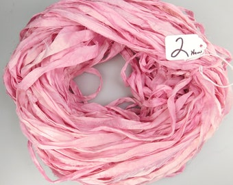 RESERVED FOR TARA, silk sari ribbon,Sari silk ribbon, pink sari ribbon, tassel supply, weaving supply, ribbon yarn, New style, less fray