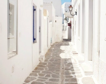 Greece photography whitewashed street white wall art home decor greece travel photography - Alley Silhouette