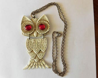 Vintage Owl Jewelry Snowy Owl Necklace HUGE Articulated Red Glass Eyes