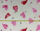 Valentine hearts on cotton jersey knit fabric 1 yard