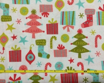 """Trees and stockings holiday knit lightweight 7.5 oz on  cotton lycra 95/5 58"""" wide sold per yard"""