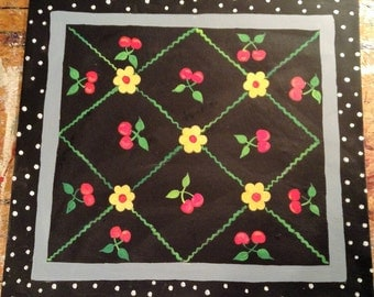 """Floorcloth / Country Cottage/ CHERRIES/  24""""x26"""" / Ready To Ship!!!"""