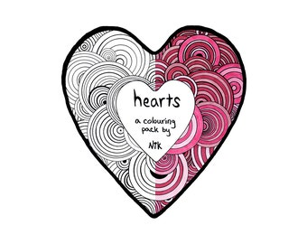 Heart Coloring Pack, Valentine Heart, All Ages, Instant Download Zip JPGs.