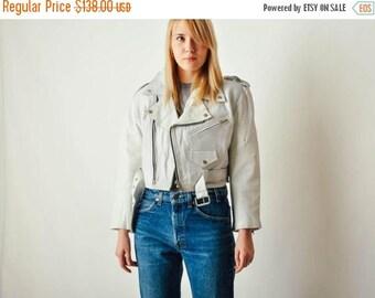 ON SALE Vintage White Leather Moto Jacket