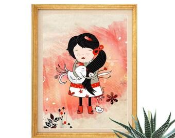 Vegan Print, Vegan Illustration, Chicken Art, Girl, Chicken, Love Animals Wall Art, Cute Bird Nursery Decor