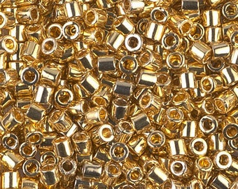 24K Gold Plated DELICA 8/0 Seed Beads Miyuki 5 Grams