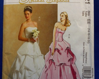 McCall's M5321, bridal elegance, sewing pattern, wedding gown, top and skirt, misses 14 to 20