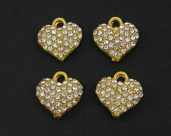 Heart Pendant Gold Clear Rhinestone Heart Charm Rhinestone Pave Jewelry Charm  G18-11 4