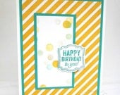 CLEARANCE SALE Handmade Birthday Card - Yellow and Teal Happy Birthday Card - Hand Stamped Birthday Card - Unisex for Him or for Her
