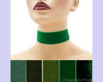 Green Velvet Choker 1.5 inches wide Custom made Your Length and Color shade (approximate width 1-3/8 - 1-1/2 inch; 36 - 38 mm) kelly olive