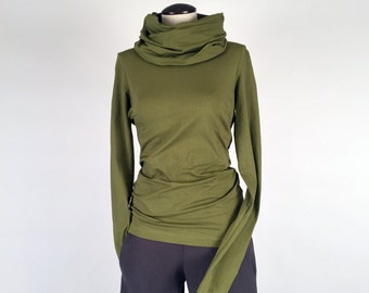 Alena Designs - Nocturnette - Cowl Neck Top Sweater Cotton Lycra Grass Green