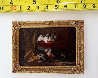 H. Ronner-Knip framed painting Mother's pride - for 1:12 dollhouse