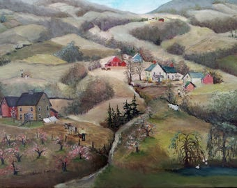 Oil painting on canvas, Spring scene