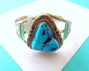 Navajo Morenci Turquoise and Sterling Silver Cuff
