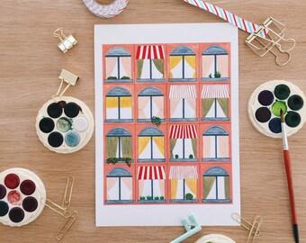 Peach Building Giclee Print . Windows . Paris . New York . Watercolour . Art Print