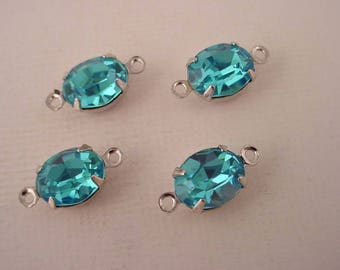 4 Vintage Swarovski  glass aqua aquamarine oval 10x8  in SILVER Prong Settings 2 Rings connectors Closed Backs