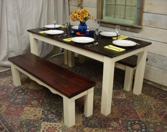 """Farmhouse Table Set 68""""x32""""x30""""H with 2 benches (56"""" x 15"""" x 17""""H)"""