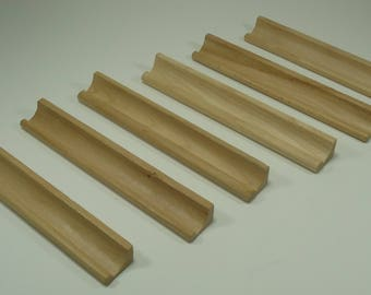 6 Scrabble Tile Racks, Rails, Holders, Trays, Wood, Game Piece, Replacement Part,