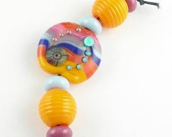 Beadbijoux Striped Handmade Lampwork Glass Focal Bead Set SRA Multicolor Mango Orange Coral Violet Aqua Pink Cobalt Blue