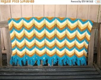 40% MOVING SALE Vintage 70's chevron afghan / crochet wrap blanket shaw / aqua blue tan yellow brown fringe /  64x35