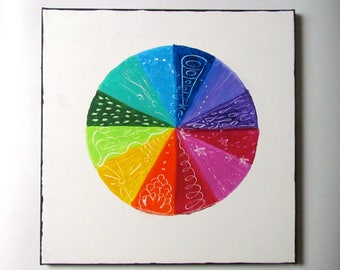 Vibrational Color Wheel, original acrylic painting on canvas, reiki, chakras, art therapy, energy art