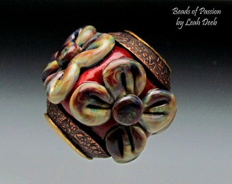 Handmade Glass BHB Beads of Passion - Flower Power Red Tie Dye Copper Capped