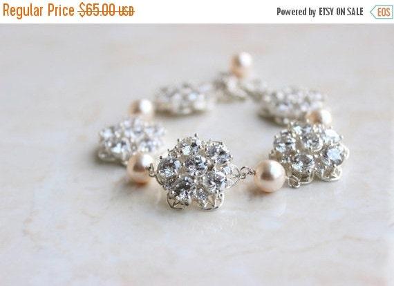 Love You Sale Bridal Bracelet Swarovski Pearl Cubic Zirconia CZ Sterling Silver Brooch AB2