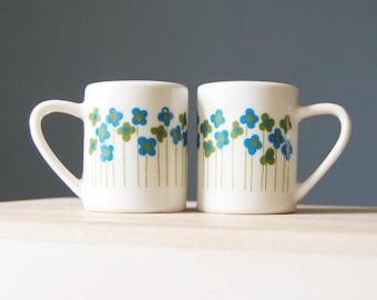 Mod 1960s Takahashi Salt Pepper Set Flowers Vintage Blue and Green Japan