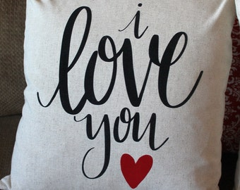 I love you VALENTINE Pillow Cover, Valentine Decor, Sofa Pillow