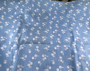 2. Yards of Vintage Blue with White Fruit Print Cotton Fabric