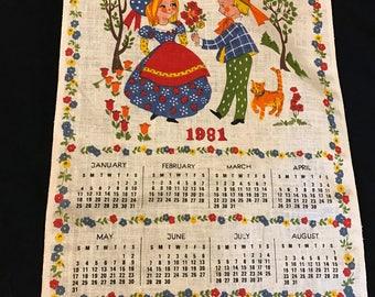 Vintage 1981 Happiness Is... Calendar Towel