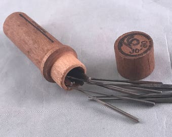 Antique/Vintage Wooden Needlecase from the Boye Needle Company with Several Needles