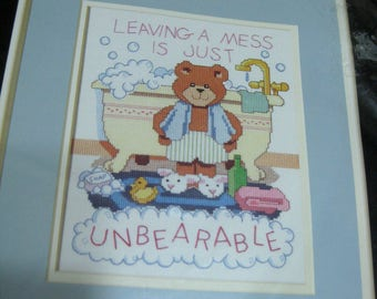 Vintage Dimensions Cross Stitch Kit Bear Bathroom Sign