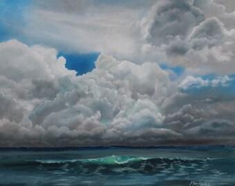Storm Cloud Seascape Wave Original Oil Painting 24 x 30 OOAK