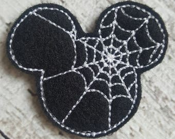 Mouse Feltie, Spider Mouse Feltie, Mouse Ears Feltie, Spiderweb Feltie, Halloween Feltie, Holiday Feltie,