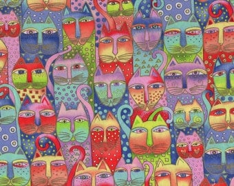 VERY RARE Laurel Burch Fanciful Felines Cats All Over Pastel 1/2 yard