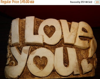 On Sale I Love You 80s Branch Bark Unique planter hippie retro 3D flowers heart Boho, Sweet Nothings, Valentine Planter, Candy Dish, Hearts,