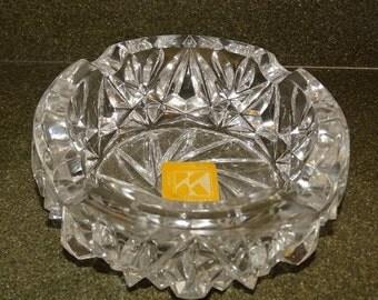 On Sale Kristaluxus Cut Lead Crystal Ashtray ~ Elegant & Heavy, Crystal Ashtray