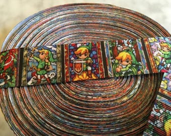 "Legend of Zelda Link Retro Video Game Inspired Printed Grosgrain Ribbon 1"""