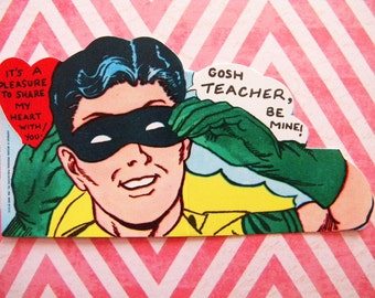 Vintage Unused Valentine's Day Card 1966 Batman and Robin to Teacher