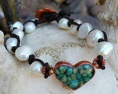 Pearl and Turquoise Bracelet-Leather - Copper Heart - Cowgirl Jewelry - Boho - Rustic Pearl Bracelet by Heart of a Cowgirl